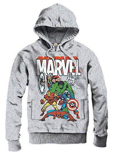 original Marvel Comics Superhelden Heroes KAPUZENPULLOVER Hoodie Sweeter Pullover THE AVENGERS sportsgrey Gr. S-XL (XL)