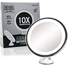Espejo de Aumento 10x con Luz Para Maquillaje - Espejo con Ventosa con Iluminación Regulable Luz LED Diurna, Inalámbrico, a Pilas, Rotación 360º - Espejo de Baño Portátil 15cm de