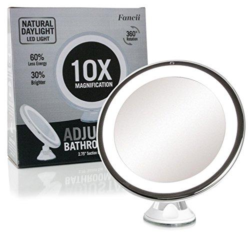 Fancii 10X Grossissement Miroir de Maquillage Lumineux avec Ventouse - Miroir de Voyage avec Lumières LED Dimmable, Pliable, 20 cm de Largeur, Rotation à 360° et Fonctionnant sur batterie
