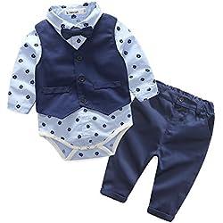 QUICKLYLY 3pcs Infantil Niño Bebé Chicos Largo manga bowtie Blusa Mameluco Tops + Chaqueta Chaleco + Pantalones Trajes Conjunto (0~6 Meses)