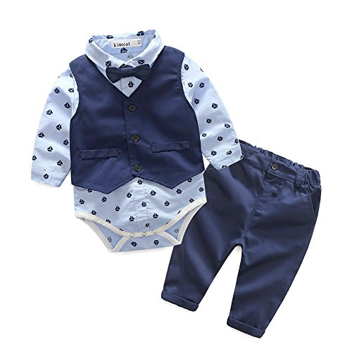 QUICKLYLY 3pcs Infantil Niño Bebé Chicos Largo manga bowtie Blusa Mameluco Tops + Chaqueta Chaleco + Pantalones Trajes Conjunto (18~24 Meses)