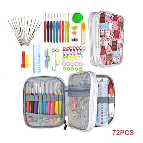 Gankmachine 72pcs / Set Häkelnadel Set Stricknadel Kit DIY manuelle gestrickte Aufbewahrungstasche Knitting Knit Weave Yarn Crafts Werkzeuge,pink,18 * 14 * 3cm -
