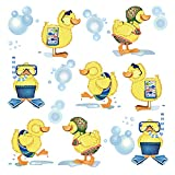 ufengke Stickers Muraux Canards Jaunes Autocollants Mural Bébé Salle de Bain pour Chambre Enfant Décoration Murale