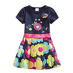 Idea Regalo - VIKITA Vestito Cotone Manica Corta Floreale Abito Principessa Casual Vestiti Bambina SH5868 7T