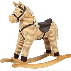Cheval à bascule animal bien rembourré 56 cm/balançoire bébé peluche cheval à bascule en animal animal balançoire à bascule bois