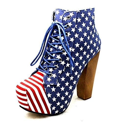 Ladies bout carré zip bottes de chaussures en haut de talon NOUVEAU amercian flag