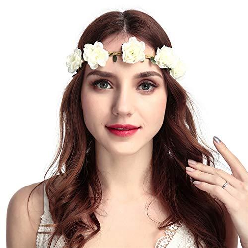 Dorical Stirnband Blumen, 1 Stück Stirnbänder Krone Haarband Kopfband Blume Haarbänder mit Elastischem Band für Hochzeit und Party Haarbänder Band für Frauen Mädchen Mehrfarbig (One Size, Z001-Weiß) -