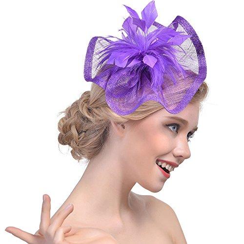 Lazzboy Party Hut Headwear Frauen Blume Mesh Bänder Federn Stirnband Cocktail Tea Party Hut Headwear(M,Lila)