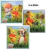 3 tlg. Set _ 3-D Effekt ! Fliesensticker - Winnie the Pooh Bär mit Tigger - auch als Untersetzer / Wandtattoo - Badezimmer - Badezimmersticker / Badezimmer Deko / Deko - Fliesen wasserfester Sticker - Aufkleber