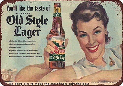 qidushop 1950er Jahre Heineman's Beer Old Style Lager Vintage Reproduktion Dekorative Metallschilder für Frauen Wandpost, Blechschild, Geschenk 30 x 45 cm Old Style Bier
