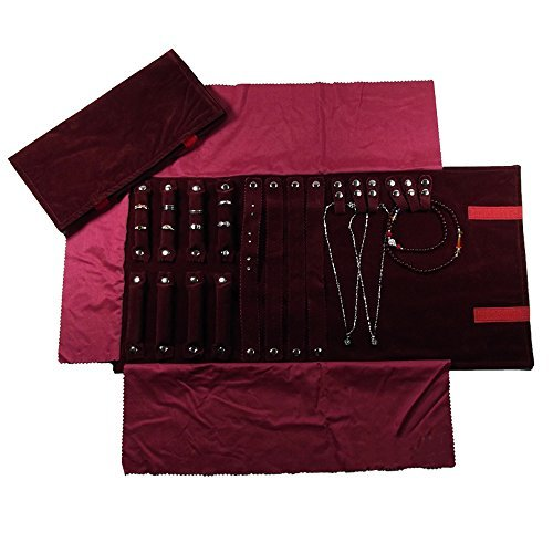UnionPlus Schmuckschatulle für die Reise, Rolltasche, Ordner für Halskette Armband Ohrringe Ring Large Burgundy
