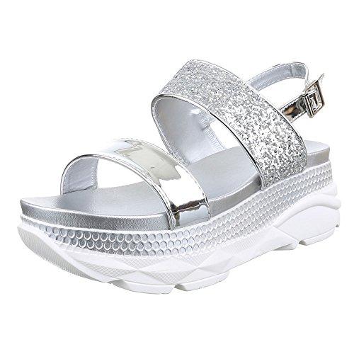 Damen Schuhe, H216, SANDALEN PLATEAU GLITTER Weiß