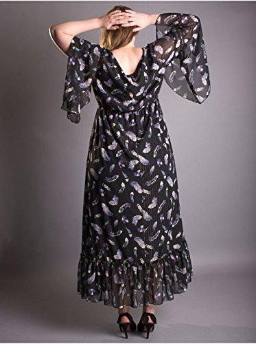 Vêtement Femme Grande Taille Robe plume Edmond Boublil noire Noir