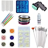Savni Nail Extensions, 5 Dotting Tools and 15 Brushes, Nail Art 10 Striping Tapes, 12 Different Glitters, Stamping Design Plate, Stamp and Scrapper and 1 of 3 g Nail Glue -Combo of 100 Pieces