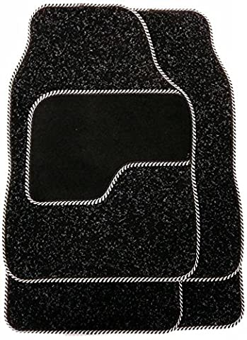 Luxury Bound Edges Set Of Silver / Black Car Mats Carpet - Extra Strong