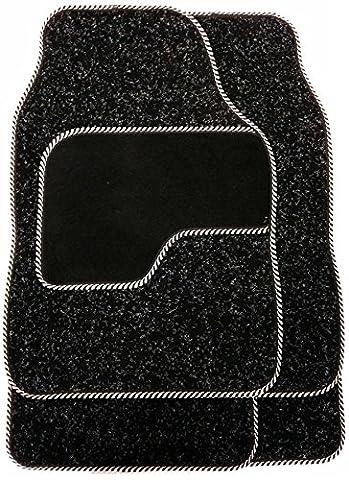 Set Of 4 Silver / Black Car Mats Non Slip Carpet For Car Van Gift Ideas