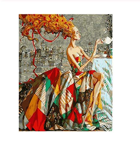 YuHanWei Digitale Malerei DIY Malen Nach Zahlen, Bilder Nach Zahlen, Wandbild, Tea Time Woman Digital Oil Painting -