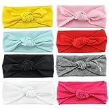 HABI 8 stk Stirnband mehrfarbig und blumenreich elastisch Haarband Fliege Schleife für Kinder Baby Mädchen