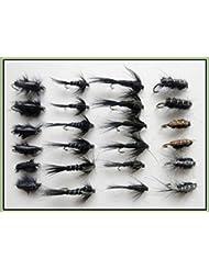 24Noir Nymphe mouches de pêche truite