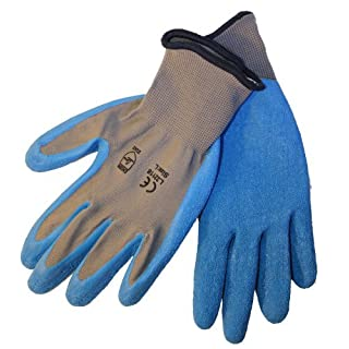 36 pairs, Latex Coated Work Gloves- Natural Gray 13 Gauge /Nylon, Blue latex Palm (Large) by Azusa Safety