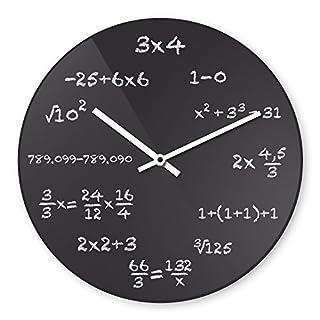 Wanduhr mit Motiv - Mathe - aus Echt-Glas | runde Küchen-Uhr | große Uhr modern