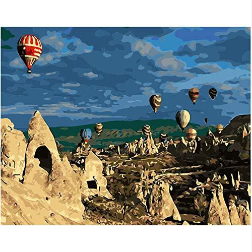 MEIMING1314 Malen Nach Zahlen Kits Wandkunst Geschenk für Erwachsene und Kinder Home Decor - Die Türkei-Heißluft-Ballon-Landschaft 40 * 50cm 16 * 20inch