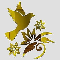 Vinilo vintage espejo de pared pajaro y ramas doradas