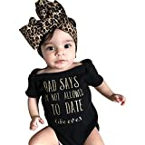 Luckhome 2PCS Newborn Infant Baby Girls Letter Romper Jumpsuit Headband Outfits Clothes Set (80, BK)