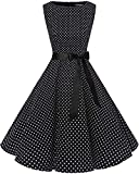 bbonlinedress 50s Retro Schwingen Vintage Rockabilly Kleid Faltenrock Black White Dot 3XL