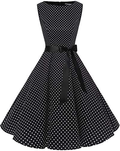 bbonlinedress 50s Retro Schwingen Vintage Rockabilly Kleid Cocktail Faltenrock Black White Dot XL