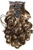 """PRETTSHOP clip nelle estensioni dei capelli Set 7pcs 60cm(24"""") della parte dei capelli ricci ondulati pieno Testa calore Resistere vari colori (marrone medio 12 CE12-1)"""