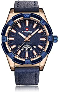 NAVIFORCE Prince of Charm Analogue Men's Wristwatch (Blue and Rosegold, NF9118 RG/BE/BE).