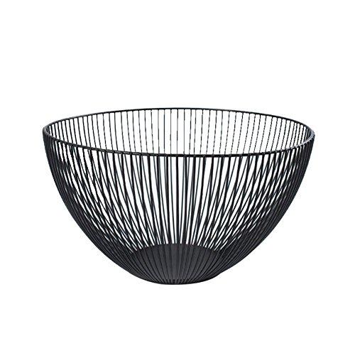 WYFC Obstkorb-Speicher Für Küchenarbeitsplatte, Schwarzer Metallfrucht-Gemüsekorb-Runder Imbiß-Halter - Imbiss-stand