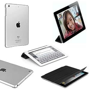 Etui SMART COVER Noir + Coque Crystal transparente pour Apple Ipad Mini
