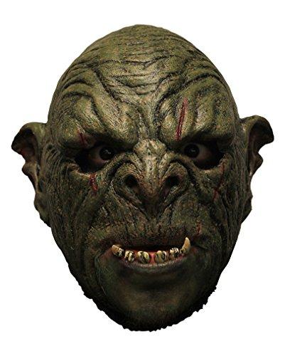 Grüne Orc Mok Vollkopfmaske (Orc Maske)