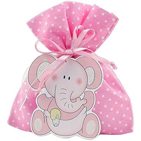 Mopec WP137,02-Sacco con 5 e prodotti con ciondolo a forma di elefante, colore: rosa, confezione da 40 pezzi