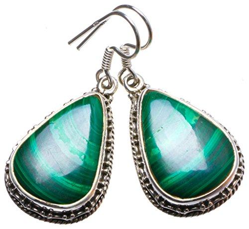 925er Sterling Silber Malachite Einzigartig Handgefertigt Ohrringe 3,81cm Green X3241