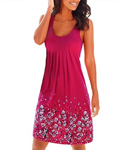 Women's Summer Floral Printed Maxi Dress Sleeveless Sexy Mini Beach Party Sundresses