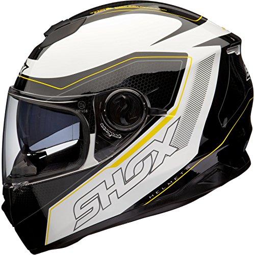 *Shox Assault Tracer Integral Motorrad Helm L Schwarz/Weiß/Gelb*