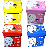 #6: Cartoon Printed Funky Collapsible Ottoman Cum Storage Units For Kids (1 Pcs \ Random Color)