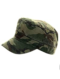 MENS BOYS 100% COTTON CAMOUFLAGE GREEN FITTED CADET CAP