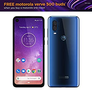 "Motorola moto one vision, 6.3"" CinemaVision FHD+ display, 48Mp sensor with Night vision, UK Sim-Free Smartphone with 4GB RAM and 128GB Storage (Dual Sim) – sapphire blue"