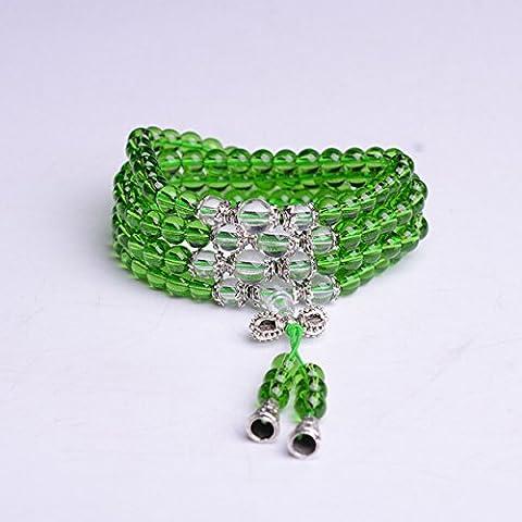 XJoel 108 perline di cristallo Mala Bead Energia mala del polso di preghiera Prayer Beads Bracelet buddista Ametista Green Clean