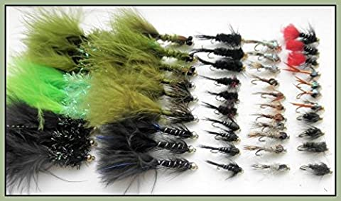 Gold Head Trout Flies, 50 Pack Mixed Lure & Nymph, Size 10/12, 15 Varieties For Fly Fishing