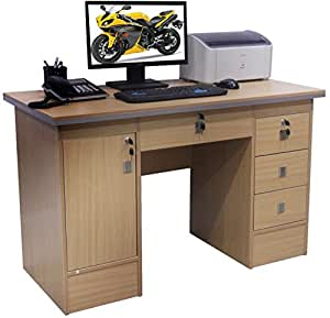 Computer Desk For Home Office PC Table in Beech, Black White and Walnut Clr With 3 Locks (Beech Desk 617/110)