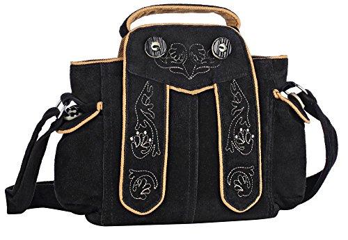 Oktoberfest-Kleidung Trachten-Handtasche aus Echtleder, Dirndltasche, 20x18x7cm, Typ 2, schwarz
