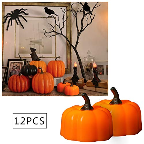 Danolt 12 Pcs lámpara de Calabaza de Halloween Naranja LED Velas Tealights con Pilas Decoración para el Tema de Halloween Fiesta Jardín en casa