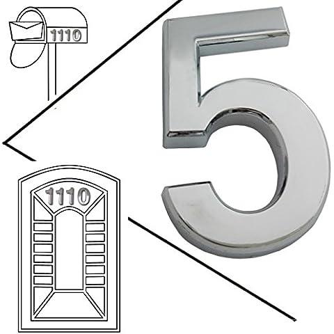 magicdo® Small Argento Moderno Numero Civico, Moderno Mailbox numero adesivo 3d, in metallo effetto riflettente, autoadesivi numero luccicanti, galleggiante, numero civico segni vinile numero, 5, 5