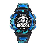 #9: Rrimin Outdoor Multifunction Waterproof Boy Sports Electronic Watches (Blue)