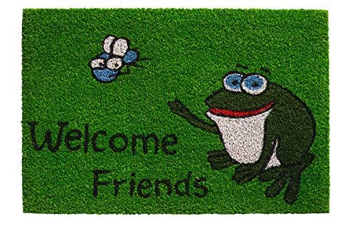 kosmatte | Coco Fußmatte | Fussmatte | Antirutschmatte | Schmutzfangmatte | Fußmatten Kokosfasern | Rutschfest | Größe 40 x 60 cm | verschiedene Motiv Matten (Welcome Friends Frog) ()
